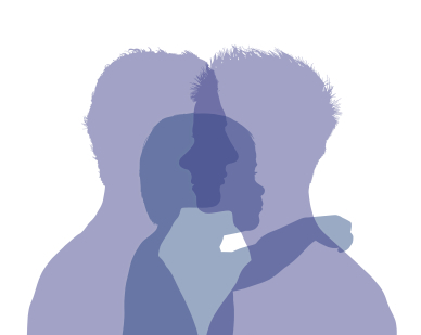 Silhouette of two gay dads with their child superimposed