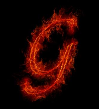 Flaming letter G