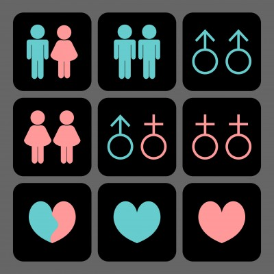 Gender symbols combined in different ways to depict diversity in love and sexual relationships