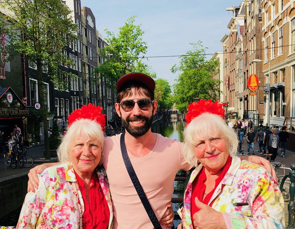 Me and the Fokken sisters in Amsterdam's Red Light District.