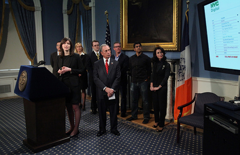 Two months later   Mayor Michael Bloomberg and Rachel Sterne,  announcing      the .NYC domain.    May 16th, 2011