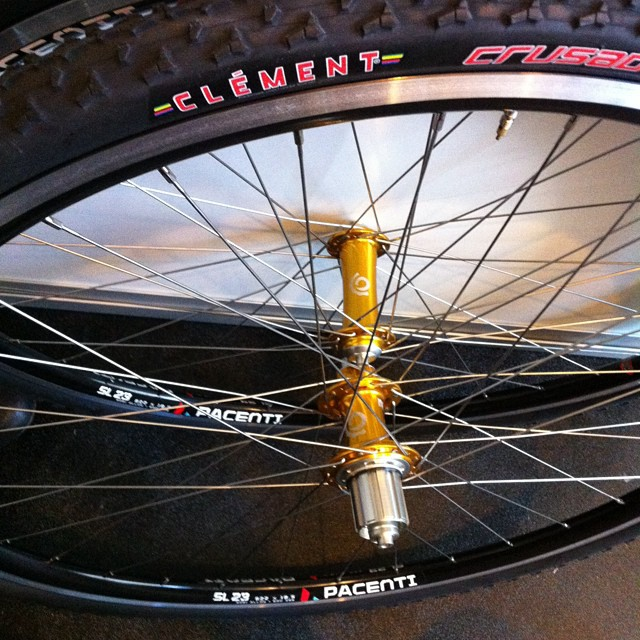 Industry9 torch hubs, Pacenti sl23 rims, Sapim laser spokes and clement pdx tires