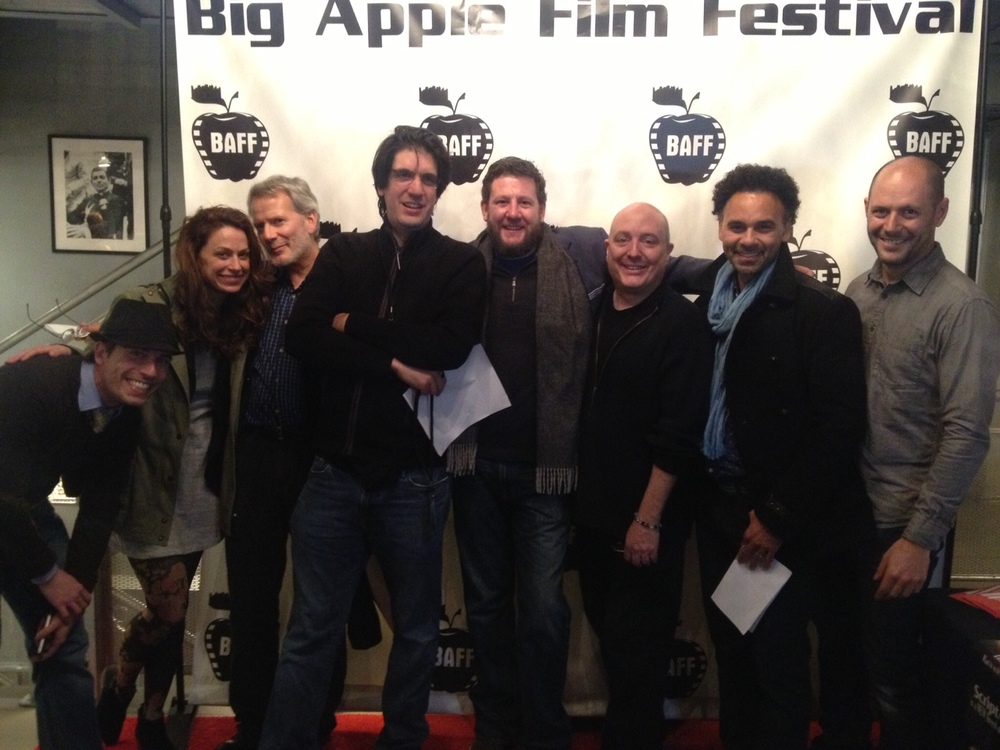 """The Worst Thing I've Ever Done"" gang. From left cast Walter Masterson, Kathleen McElfresh, and Campbell Scott, writer/director Brian DeCubellis, Producer Ted FitzGerald, Exec Producer Andy Kadison, Co-Producer Brooks Hale, Cinematographer Chris Scarafile"