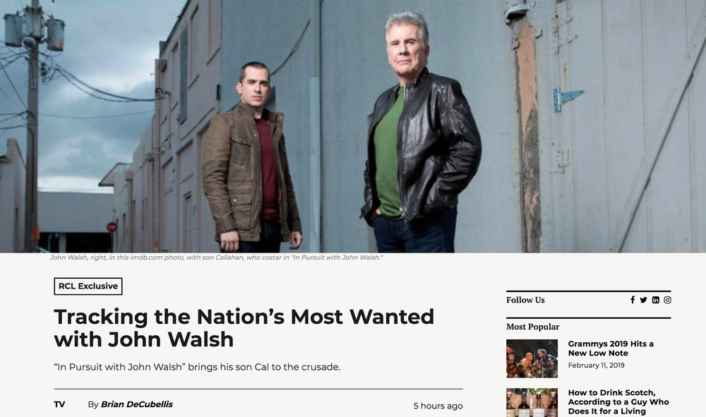 """Wrote this piece on my experience behind the scenes on """"In Pursuit With John Walsh"""""""