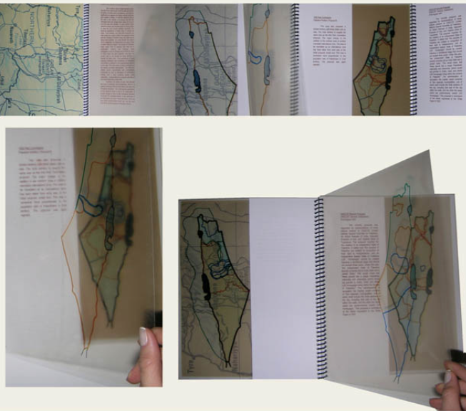 Mapping the Israeli-Palestinian Conflict This visual essay was written in my senior year of undergraduate school as an independent study. By superimposing maps printed on transparent vellum, the project sought to visually exhibit the profusion of borders, contradictory claims and entitlement to lands, and opposing views on ownership and history that coexist within the territory that was once mandated Palestine. I wanted to explore the idea of maps not as mutually exclusive, impartial and isolated in history, but rather as expressions of ideology and nationhood that still resonate today as reflections of the contemporary cultural and nationalistic belief systems that created them. The borders of the land (historical, contemporary, and imagined) are as diverse and inconstant as the ideologies that shape and divide it. By visually superimposing these multiple borders into a single map that reads as being incoherent, confused, disjointed, and irrational, one is able to also imagine the layering of contradictory and irreconcilable ideologies that coexist and constitute what is Israel-Palestine.