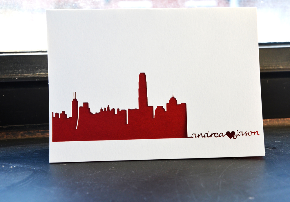 Hong Kong Skyline Wedding Card