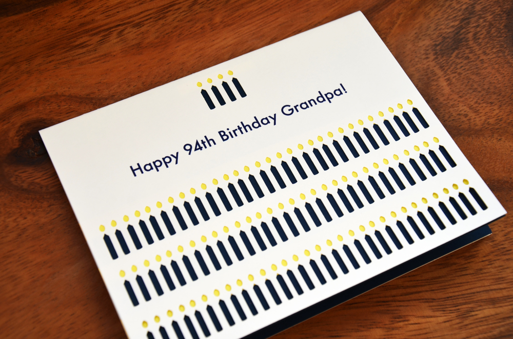 Our Custom Birthday Candles Card. Available in Our Shop with any Name, Number of Candles, and Color.