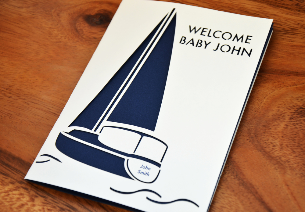 Our Custom Boat Card. Available in our Shop with any Name, Salutation and Color.