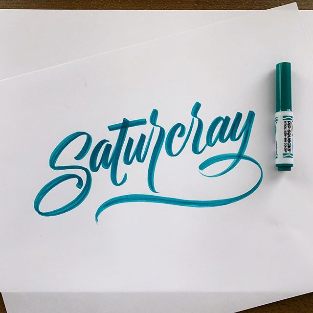 Doing a little something different. Paper feels so weird after going digital for so long... — #calligraphy #crayligraphy #script #scriptcalligraphy #crayola #saturcray #typography #type #goodtype #typedaily #dailytype #typegang