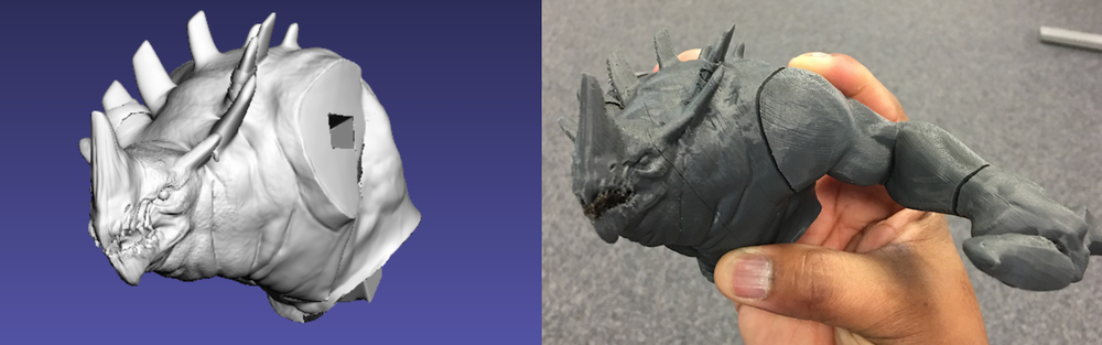 A fit and detail check. The model in Meshlab Vs the printed parts. There are some slight detail loss, but over all not bad for a 10 year old 3d printer.