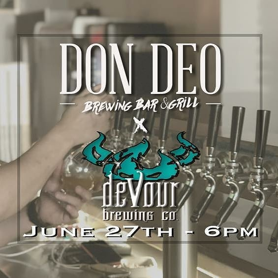 Tonight! Join us down @dondeobrewingco for some delicious food and great beers by @devourbrewing. See you soon!!!!