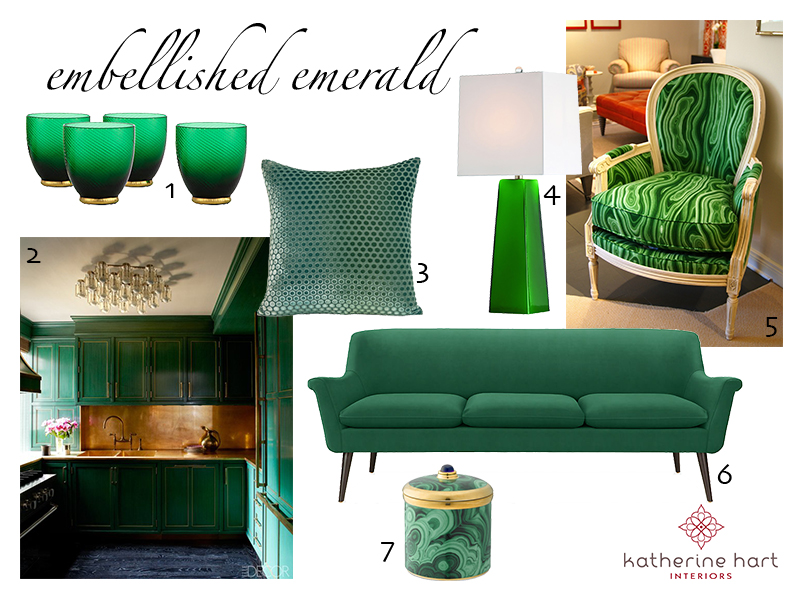 1. Z Gallerie  stemware   2. Cameron Diaz's  New York Apartment  by Kelly Wearstler  3. Kevin O'Brien Studio Dots Velvet  Pillow   4. Arteriors Roma Table  Lamp   5. A modern Louis XVI chair upholstered in DwellStudio Malakos  Fabric   6. Room and Board Murphy  Sofa   7. Williams Sonoma Malachite  Candle
