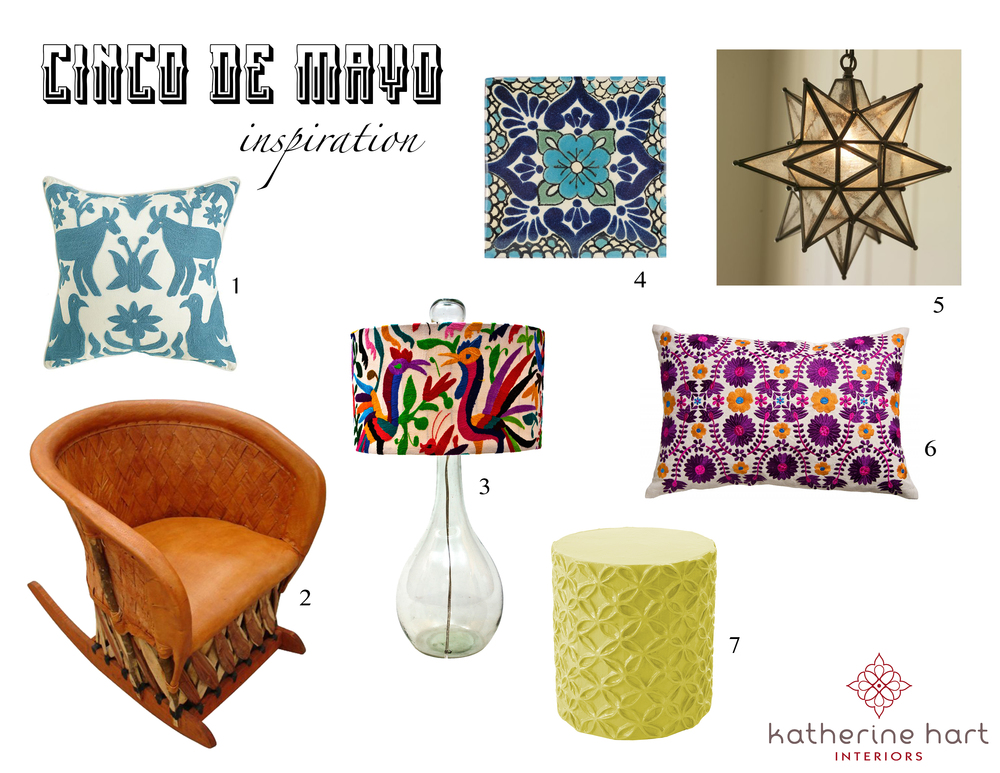 1.  Otomi  Pillow    2. Equipale Rocking  Chair      3. Shelly Table  Lamp      4. Polanco  Tile    5. Olivia  Pendant      6. Embroidered  Pillow      7. Flower  Stool