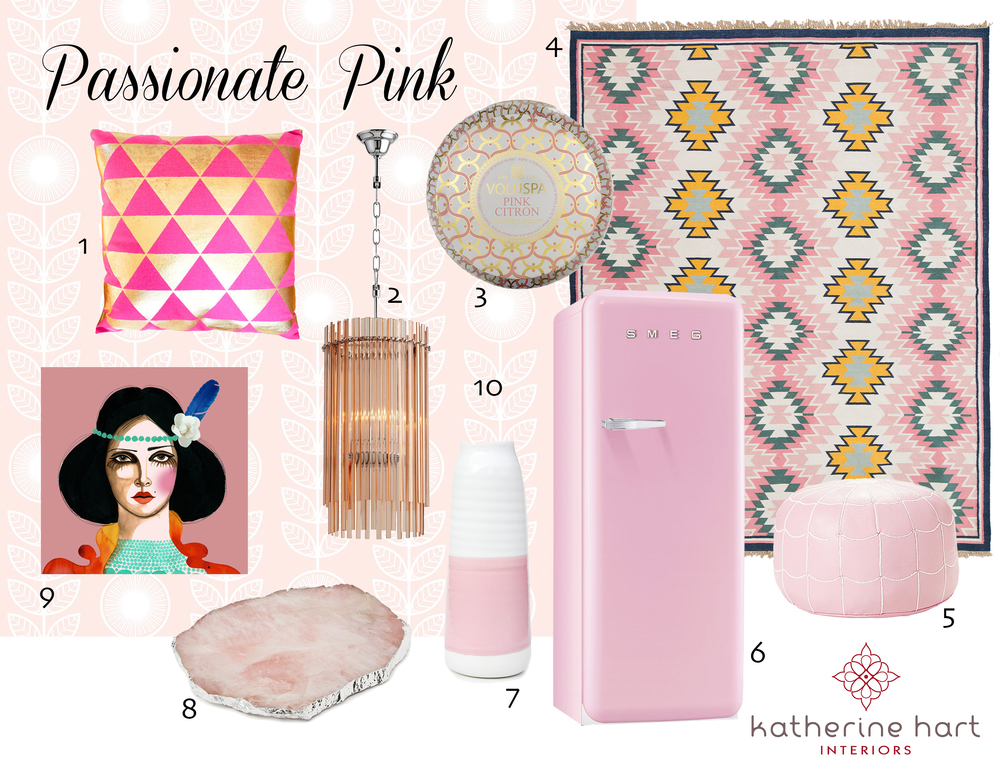 1. Shimmer Stamp Triangles  Pillow   2. Swizzle  Chandelier   3. Pink Citron  Candle   4. Painted Desert  Rug   5. Moroccan Leather  Pouf   6. Retro  Fridge   7. Dipped Buoy  Vase   8. Rose Quartz  Platter   9. Oh Carmen  Print   10. Garland  Wallpaper