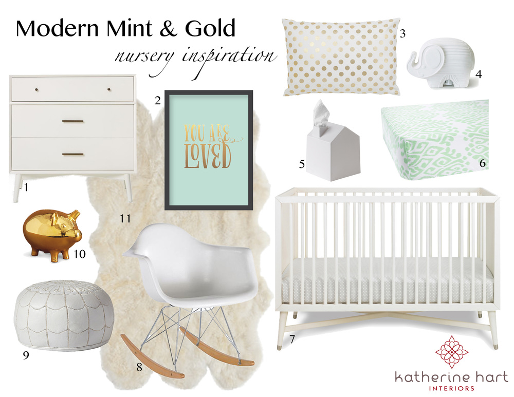 1. Mid-Century  Dresser  | 2. You Are Loved  Print  | 3. Polka Dot  Pillow   4. Elephant  Nightlight  | 5. Maison  Tissue Box  | 6. Mint  Crib Sheet    7. Mid-Century  Crib  | 8. Retro  Rocker  | 9. Moroccan Leather  Pouf  | 10.  Piggy Bank  | 11. Sheepskin  Rug