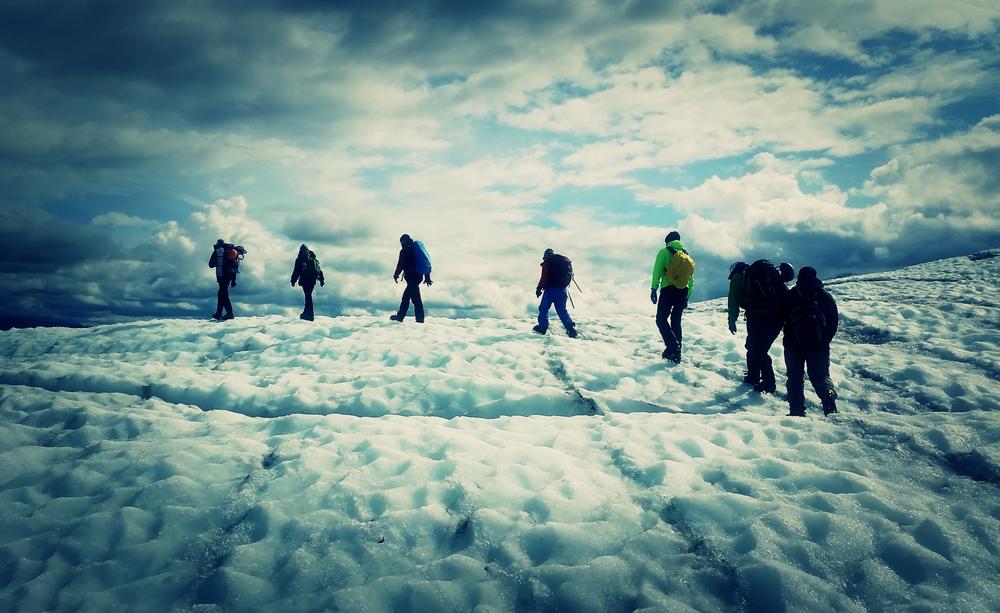 We walk across a glacier.