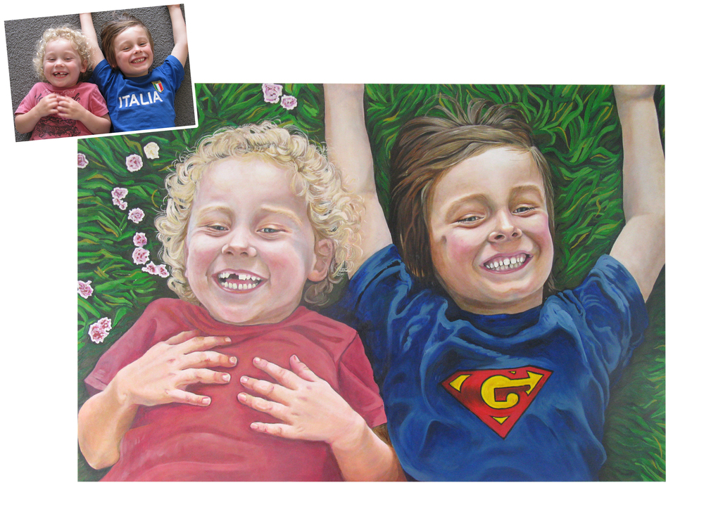 Original photo with 1.5 metre finished oil portrait shown