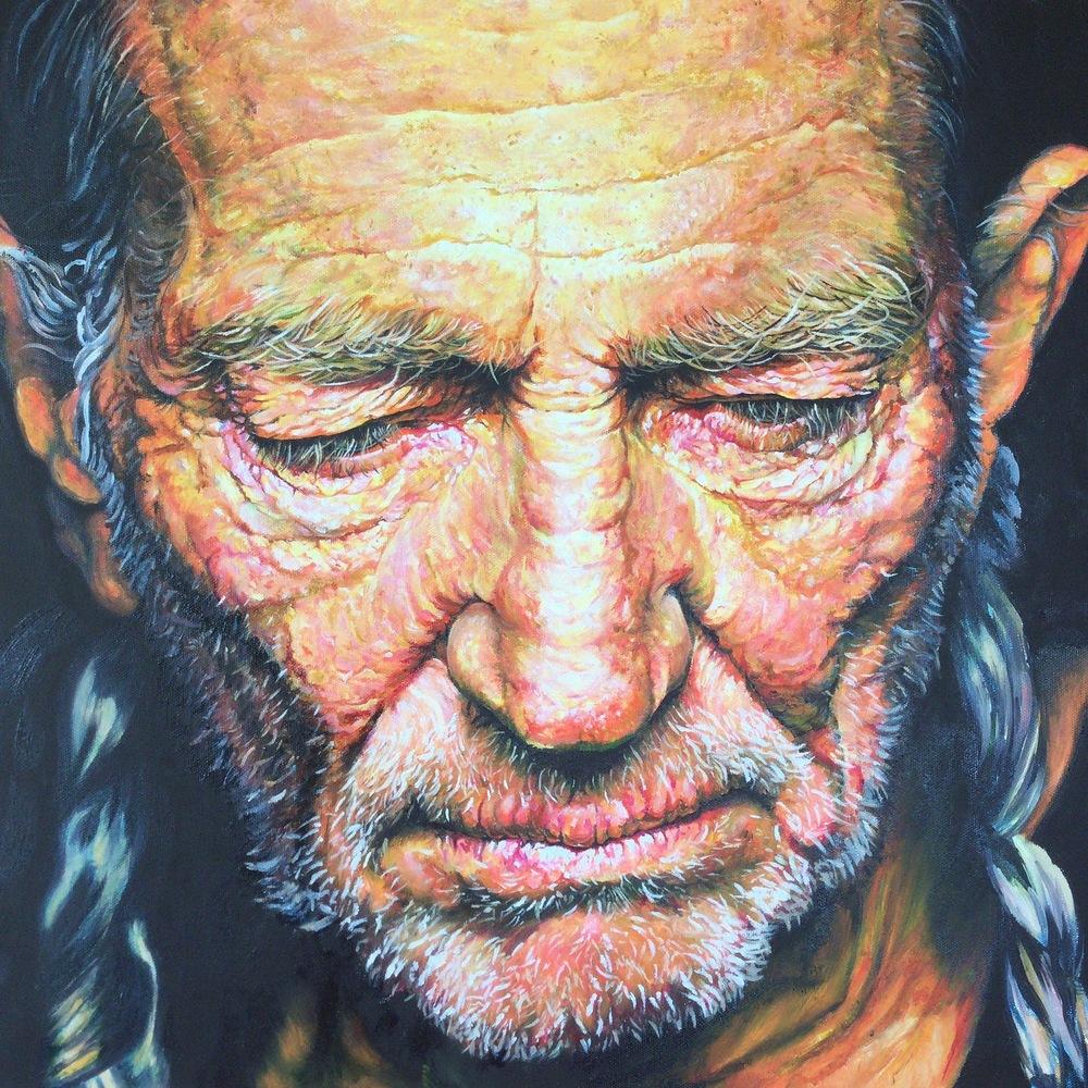'Willie Nelson' Hyper Realism: 50 x 70 cm