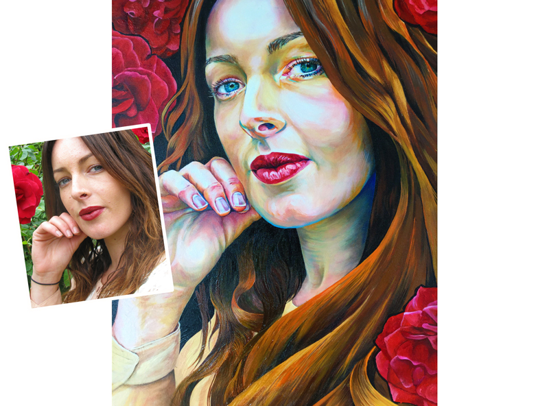 LADY WITH ROSES: Oil on Canvas: 50 x 70 cm  *SOLD
