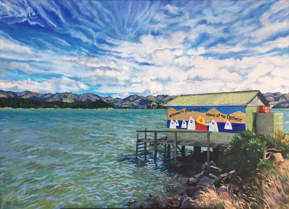 Oil on Canvas   50 x 70   Charteris Bay landmark boat shed