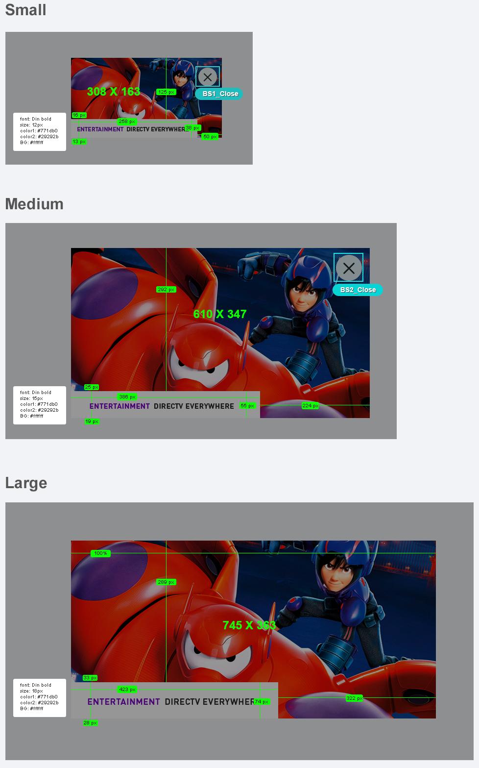 Specs for responsive banner