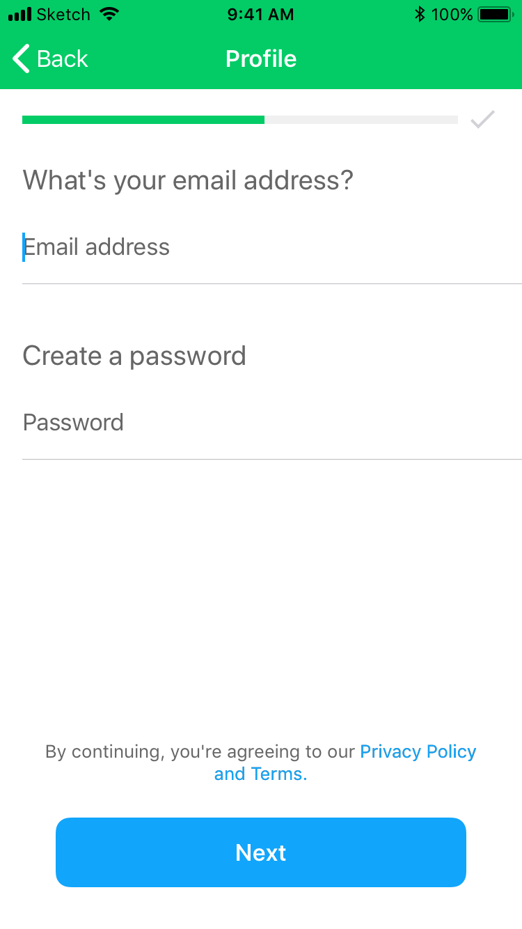 Enter email / create password
