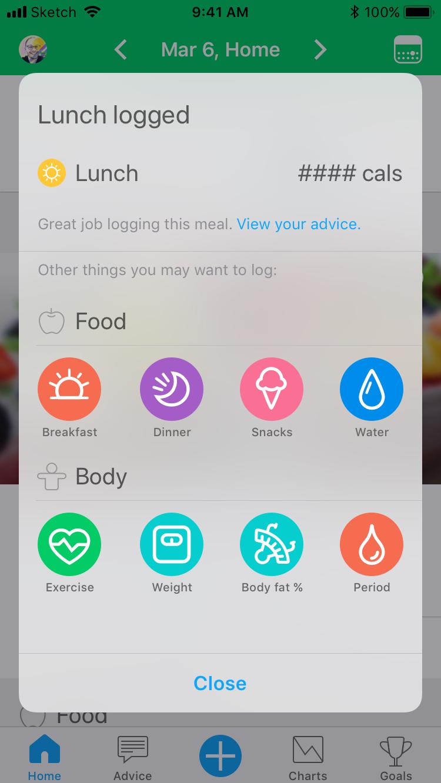 Meal logged dialog