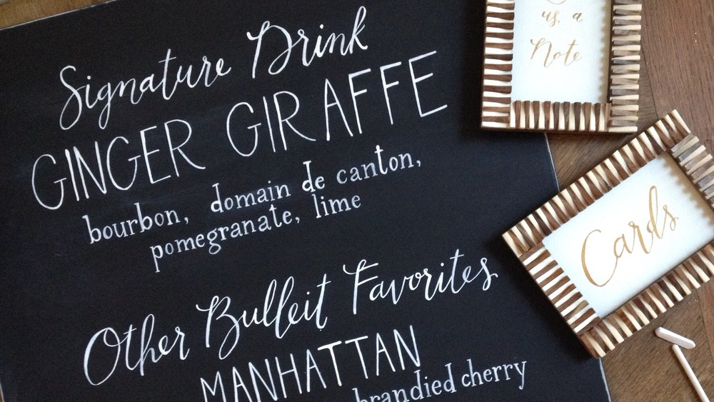 chalkboard bar menu / signature drink / cards signage // calligraphy and lettering by hello, bird.