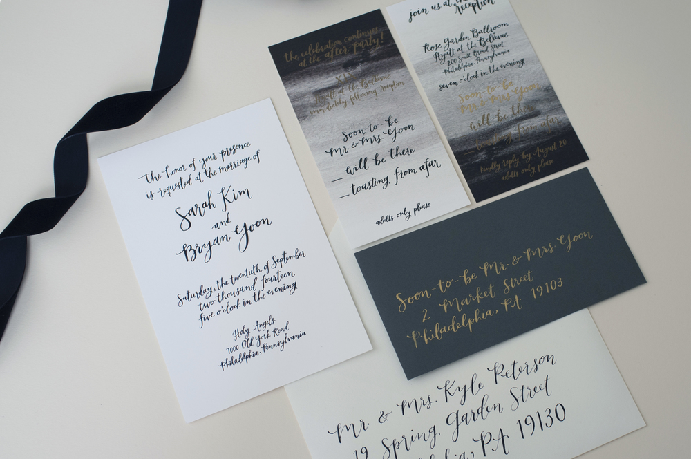 Sarah + Bryan's custom calligraphy invitation suite by hello, bird.