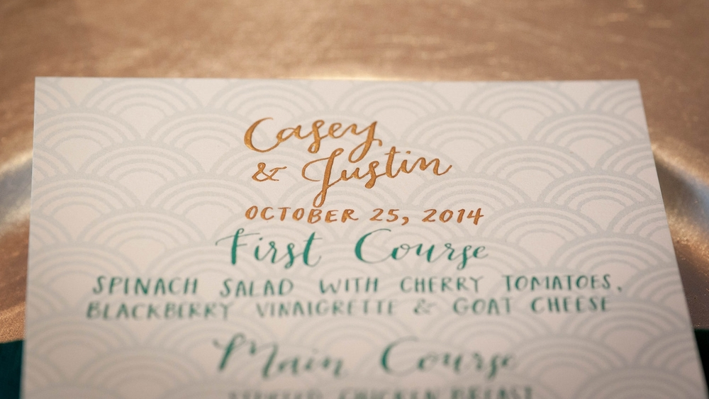 photo courtesy of Ashley Peterson Photography // menu + lettering/calligraphy by hello, bird.