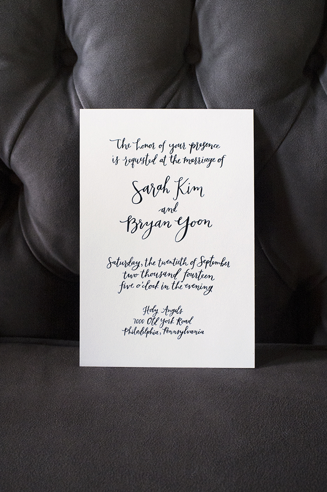 Sarah + Bryan's custom oversized black and white invitation by hello, bird.
