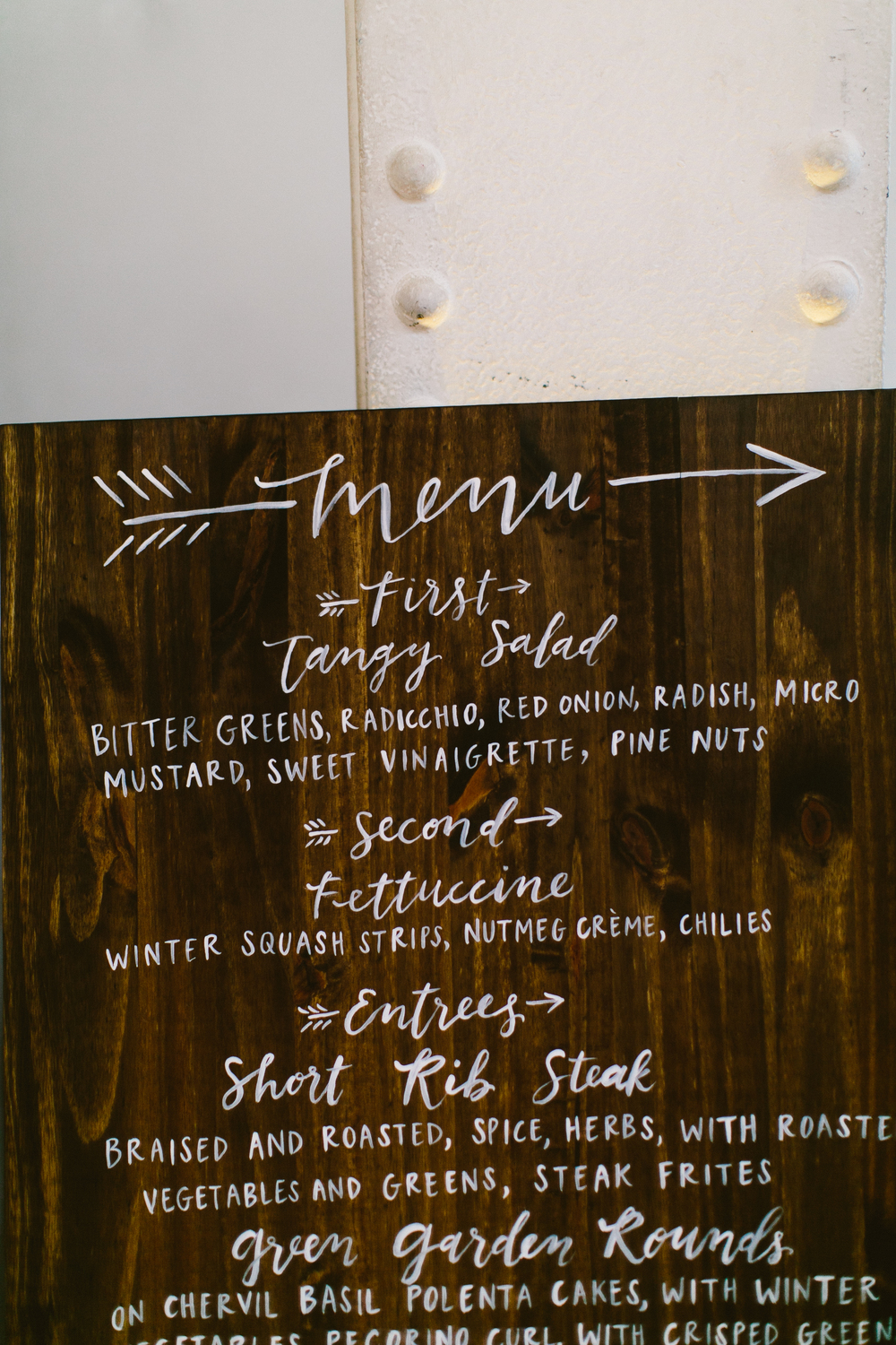 handpainted calligraphy wooden menu by hello,, bird. // photo by redfield photography