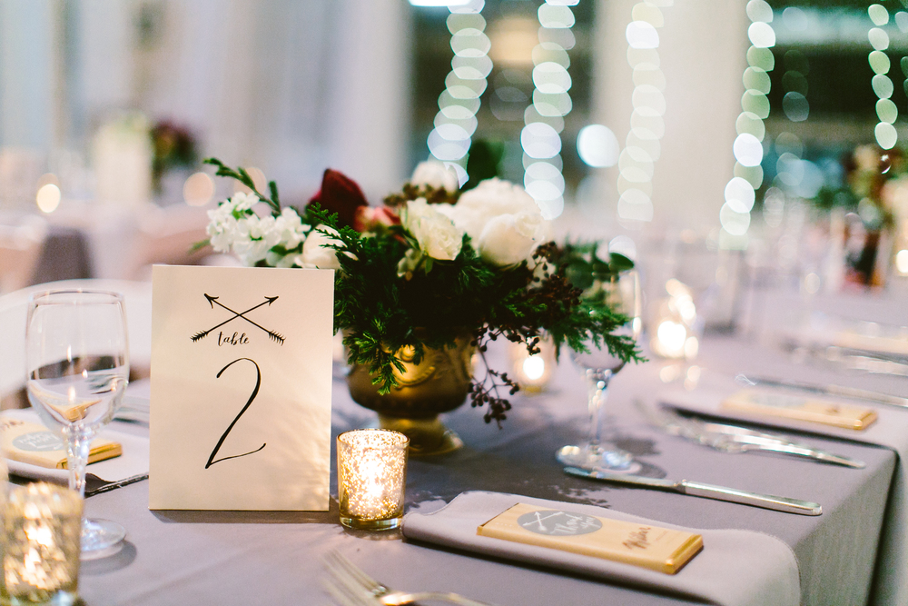 table numbers by hello, bird. // florals by kate farley design // photo by redfield photography