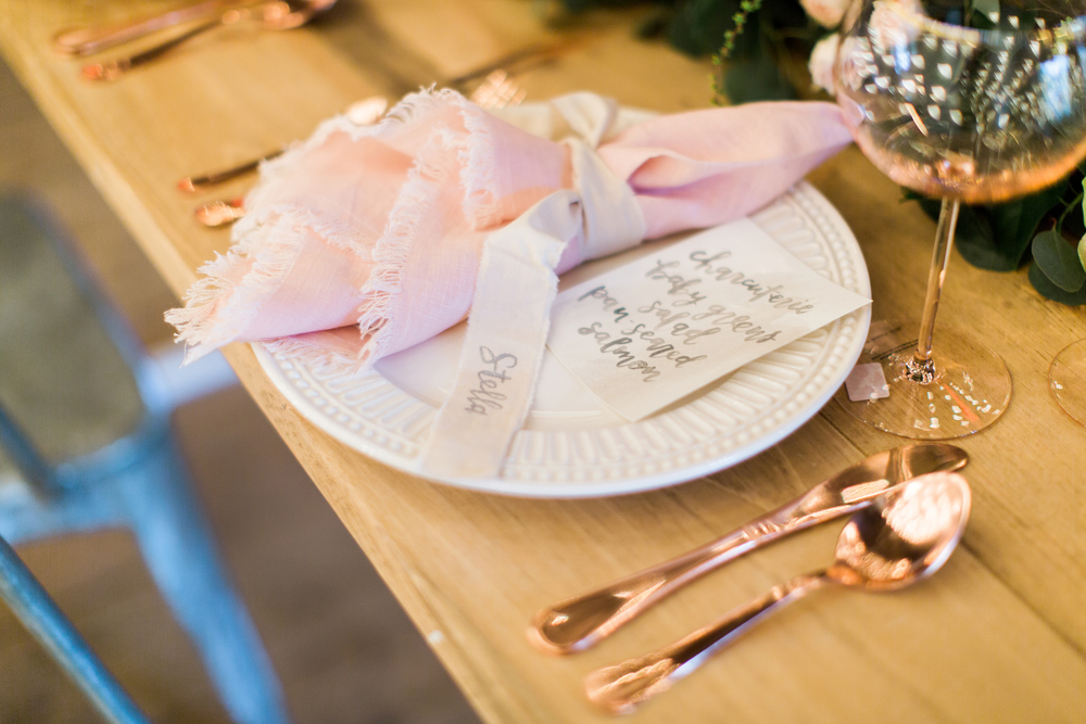 menu + calligraphy: hello, bird.  //  furniture: maggpie vintage rentals//  photo by emily wren photography