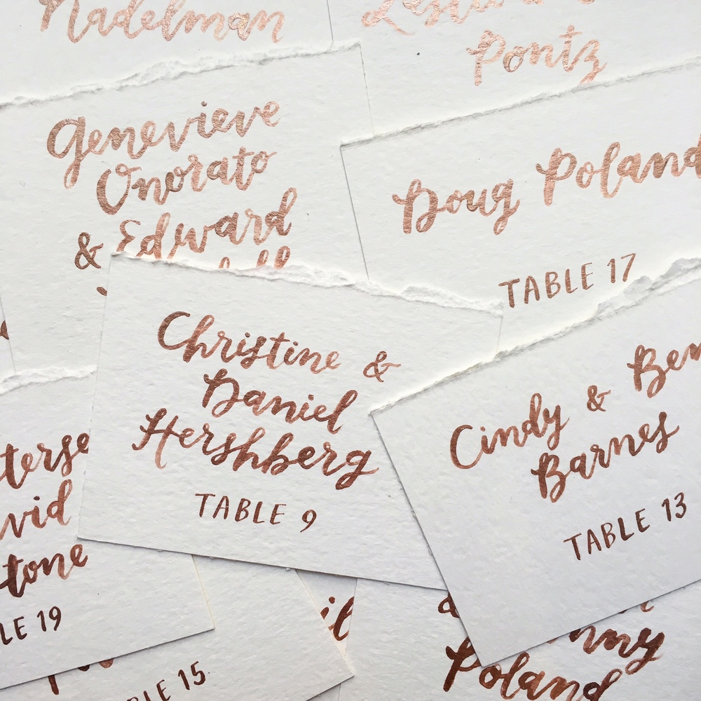 escort cards with rose gold ink by hello, bird.