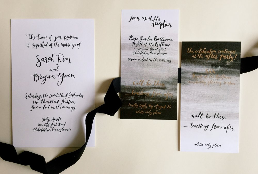 Sarah + Bryan's invitation suite by hello, bird. // black and white oversized calligraphy invitation; ombre rsvp card with black and gold