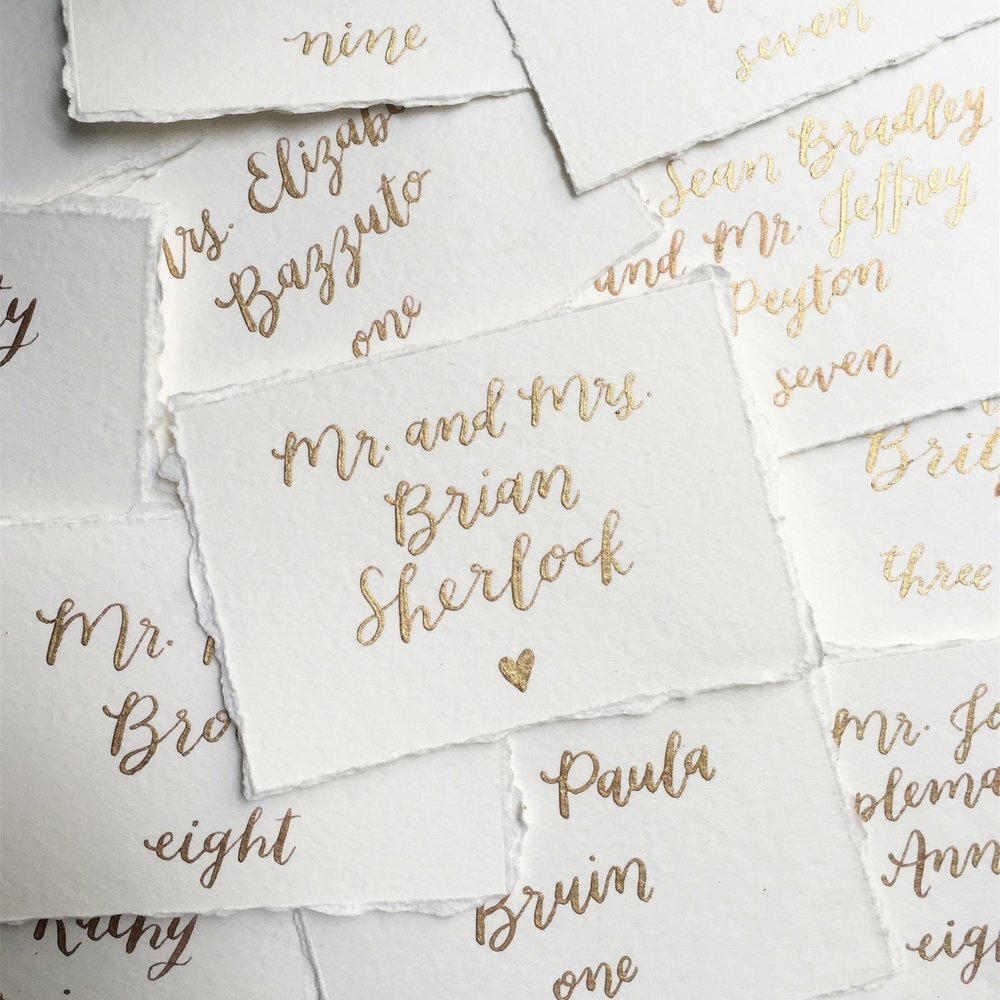 gold ink calligraphy + hand-deckle edge cards by hello, bird.