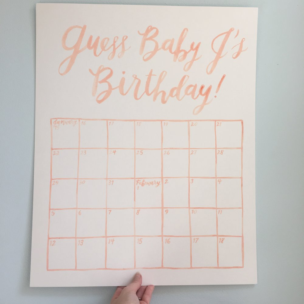 baby shower watercolor calendar by hello, bird.