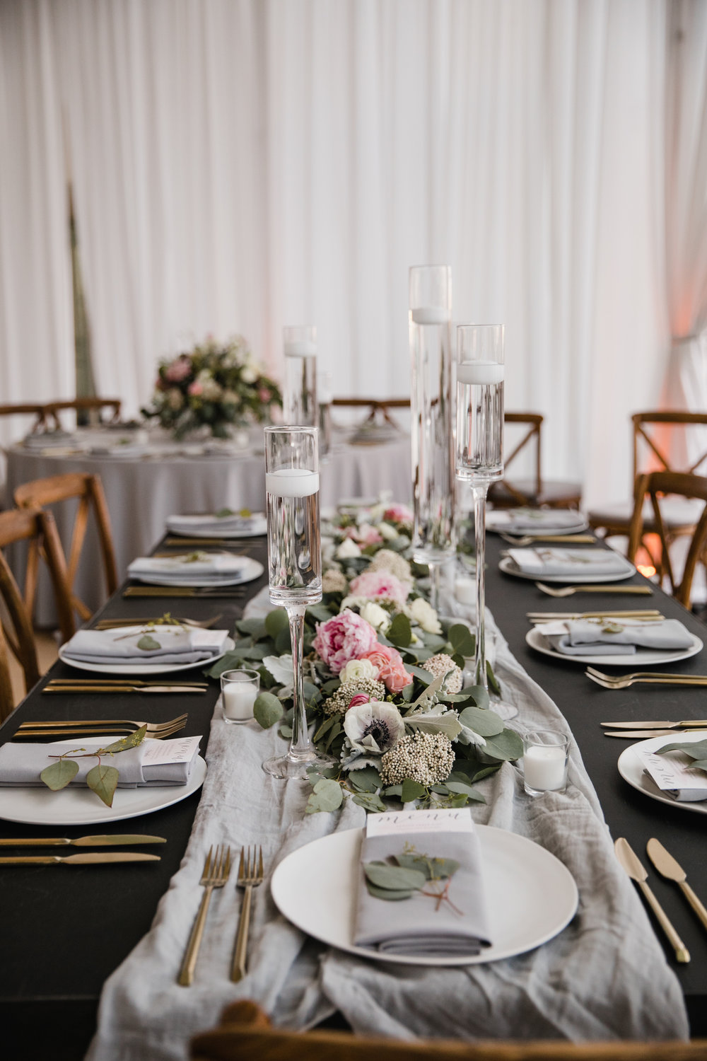 wedding menus and hand-dyed textiles by hello, bird. // florals by Carl Alan Floral Artistry // photo courtesy of Love Me Do Photography