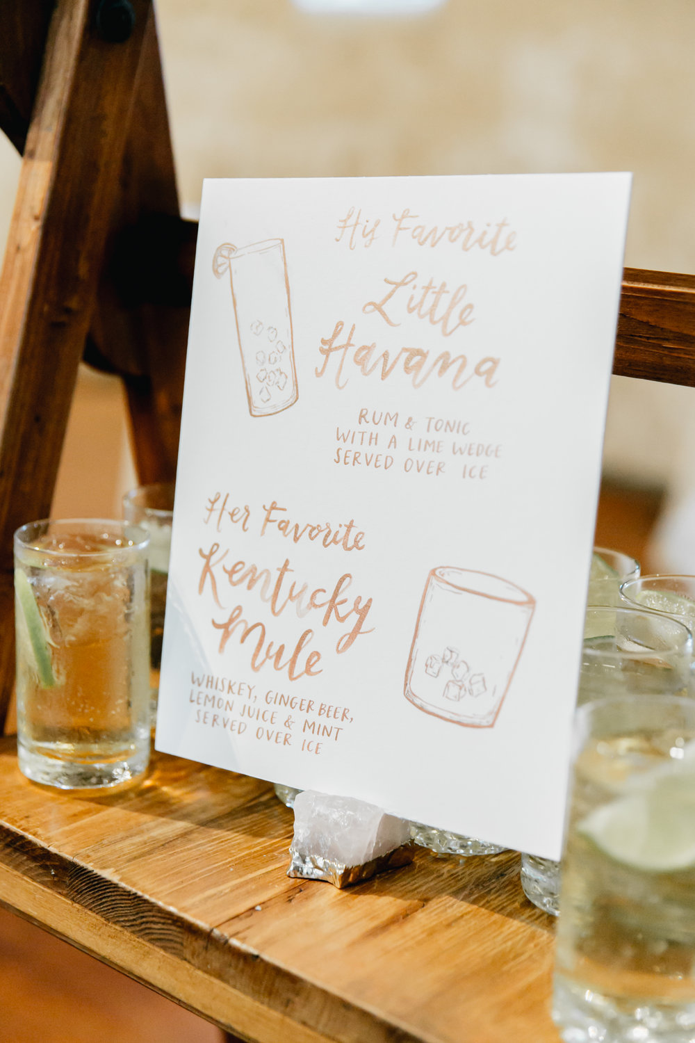 cocktail menu sign by hello, bird. // photo by emily wren photography
