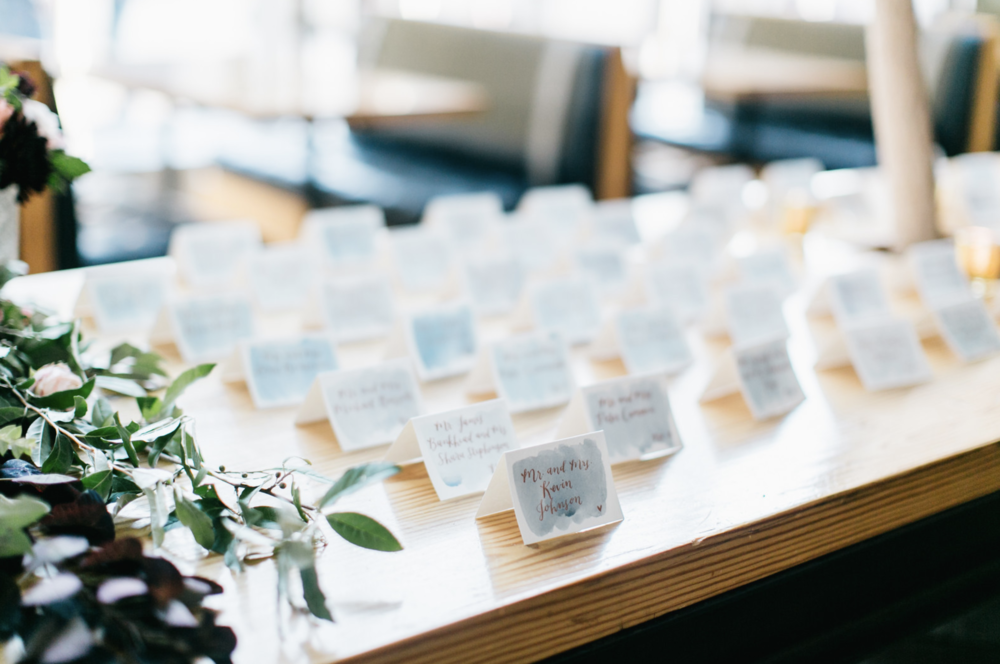 hello, bird. escort cards with watercolor wash // photo courtesy of Emily Wren Photography