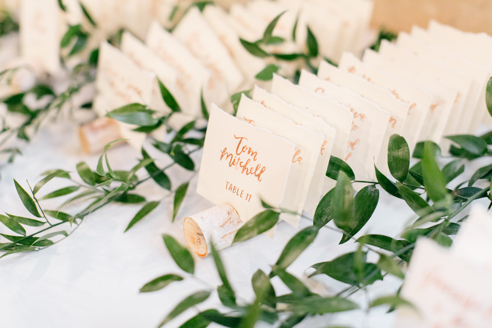 escort cards by hello, bird. // photo courtesy of Emily Wren Photography