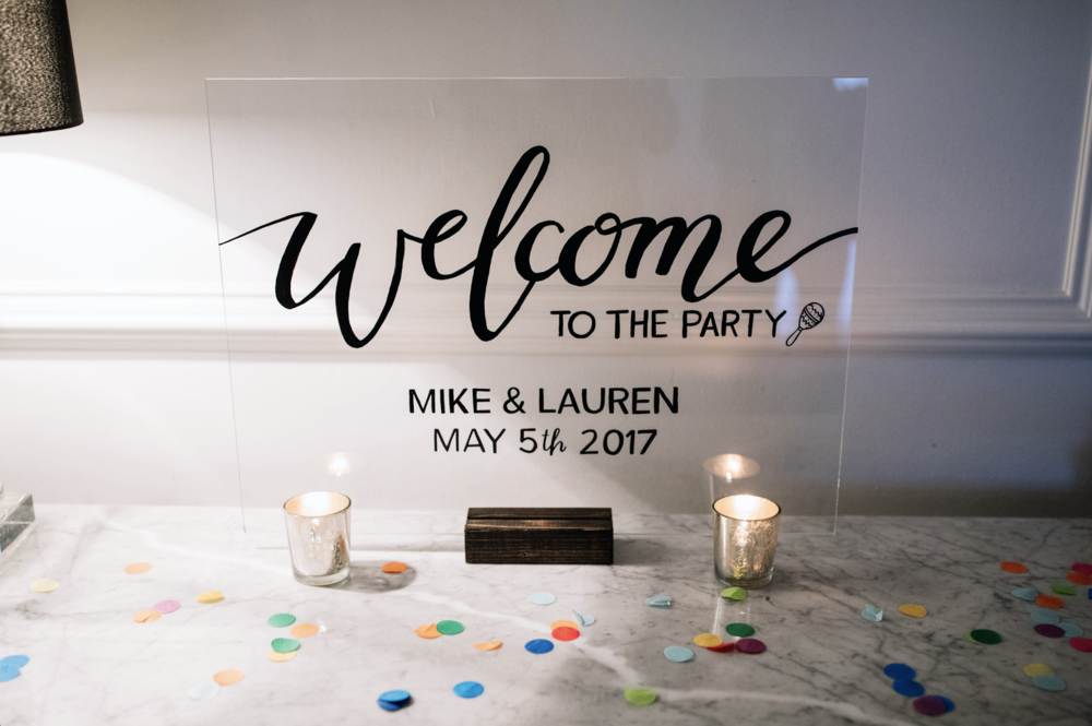 acrylic welcome sign by hello, bird. // photo courtesy of Brittney Raine Photography