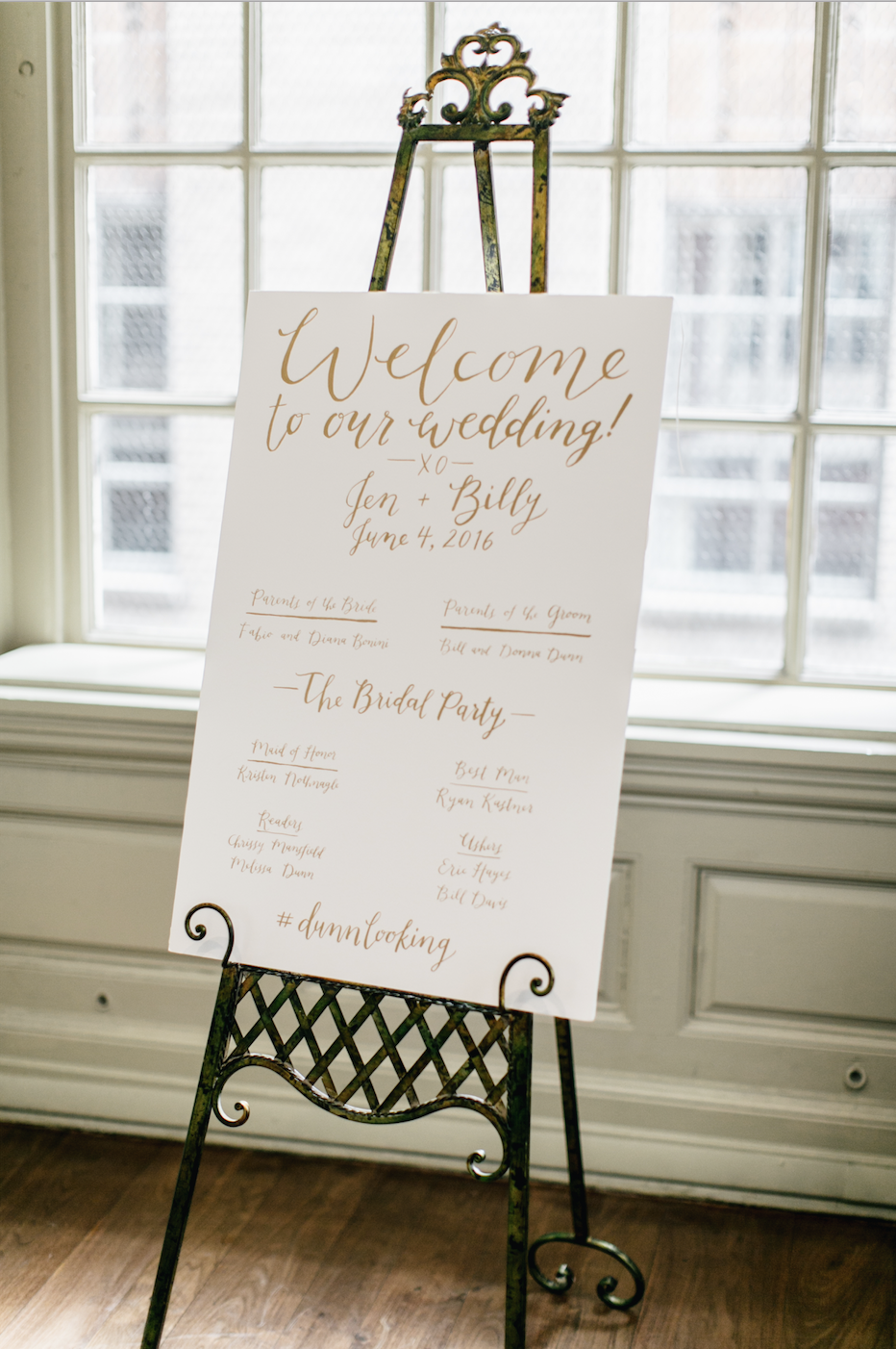 Jen + Billy's Philadelphia wedding // welcome and ceremony program sign by hello, bird. // photo by Emily Wren Photography
