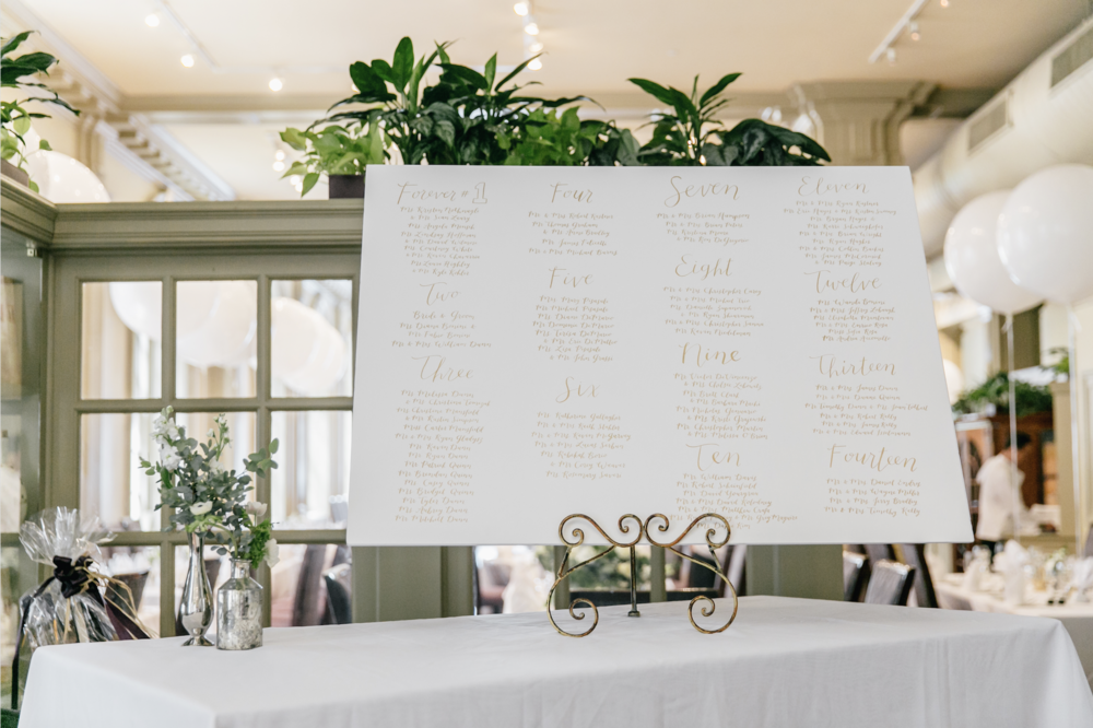 Jen + Billy's Philadelphia wedding // gold ink seating chart by hello, bird. // photo by Emily Wren Photography