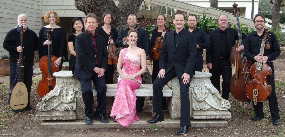 La Follia Austin Baroque.  Pictured are :  Front (l-r): Keith Womer, director, Meredith Ruduski,  Ryland Angel  Rear (l-r): Scott Horton, Jane Leggiero, JiMin Kim, Joan Carlson, Alan Austin, Jann Cosart, Billy Traylor, David Dawson, James Brown