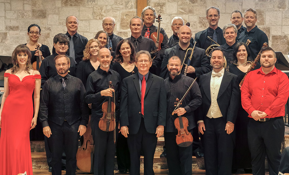 La Follia Austin Baroque. Pictured are :  Front (l-r): Meredith Ruduski, Jeffrey Jones-Ragona, Stephen Redfield (concertmaster), Keith Womer (director), Alan Austin, Gil Zilkha, Robbie LaBanca  Middle (l-r): Marcus McGuff, Jane Leggiero, Joan Carlson, Louie Eckhardt, Patrick Hughes, Patty Fagan-Miller  Rear (l-r): Marie-Elise McNeeley, David Dawson, Jann Cosart, John Walters, Bruce Colson, Bruce Williams, Kevin Hall, Mikal Hart, Billy Traylor, David Saad