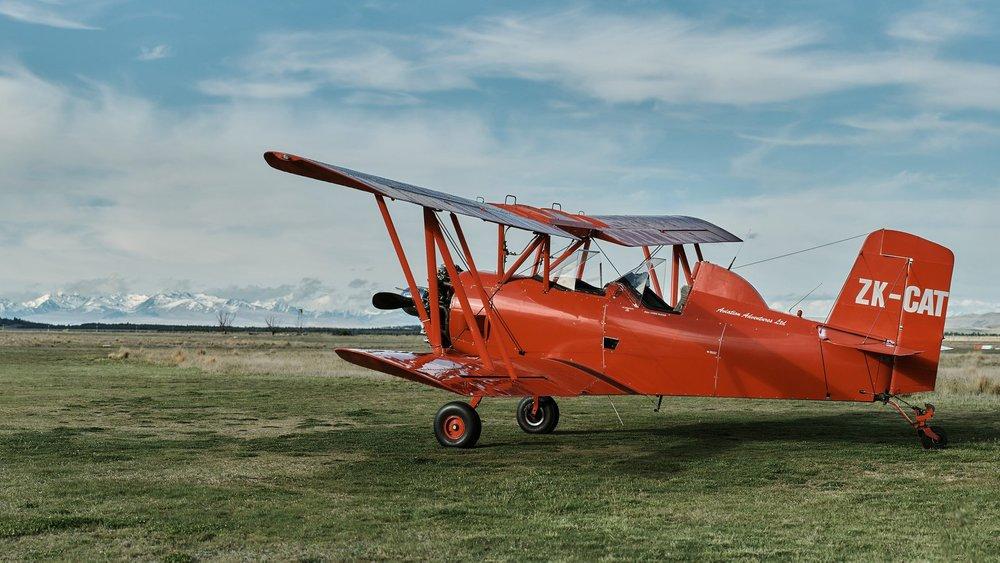 red cat biplane queenstown tekapo new zealand prewedding