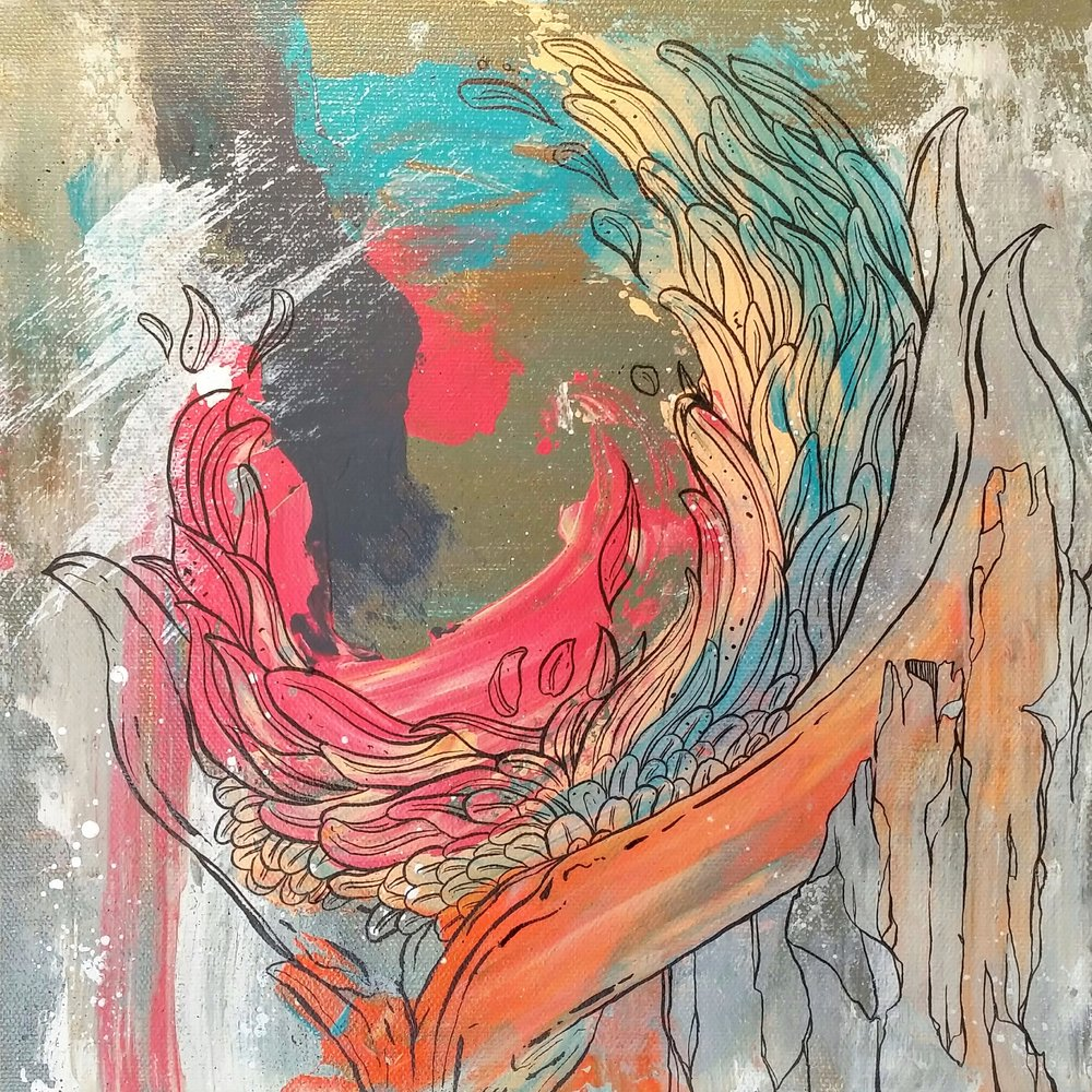 "FLORA CRUSH / acrylic + ink / 12"" x 12"" on canvas"