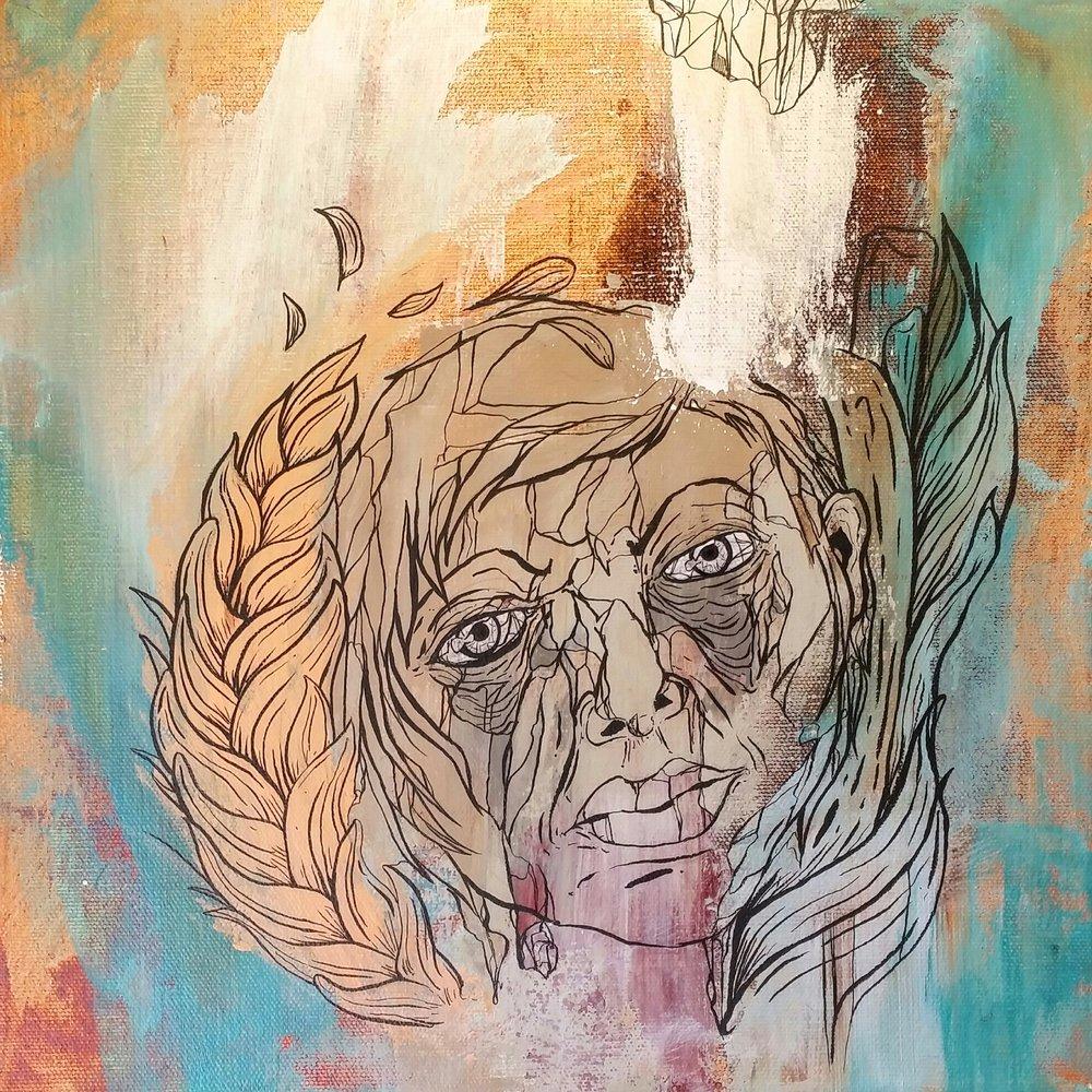 """CELESTE / acrylic + ink / 12"""" x 12"""" on canvas"""